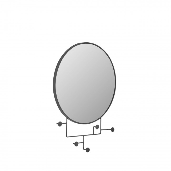 Vianela - Miroir rond avec crochets en métal