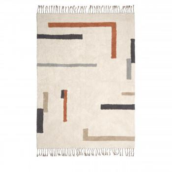 Bahiia - Tapis à franges à motifs géométriques