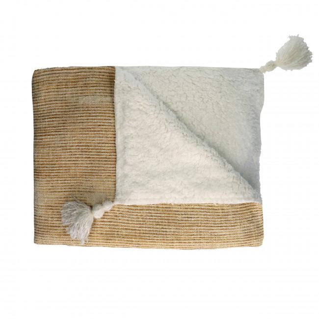 Toudou - Plaid en coton à pompons 130x160cm