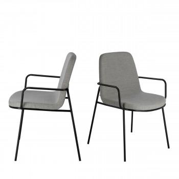 Giulia - 2 chaises en tissu et métal