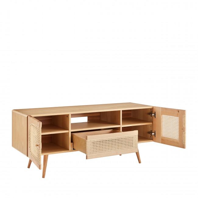 Ostnor - Meuble TV 2 portes 1 tiroir en bois et cannage