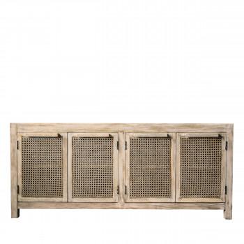 Seden - Buffet 4 portes en bois et cannage