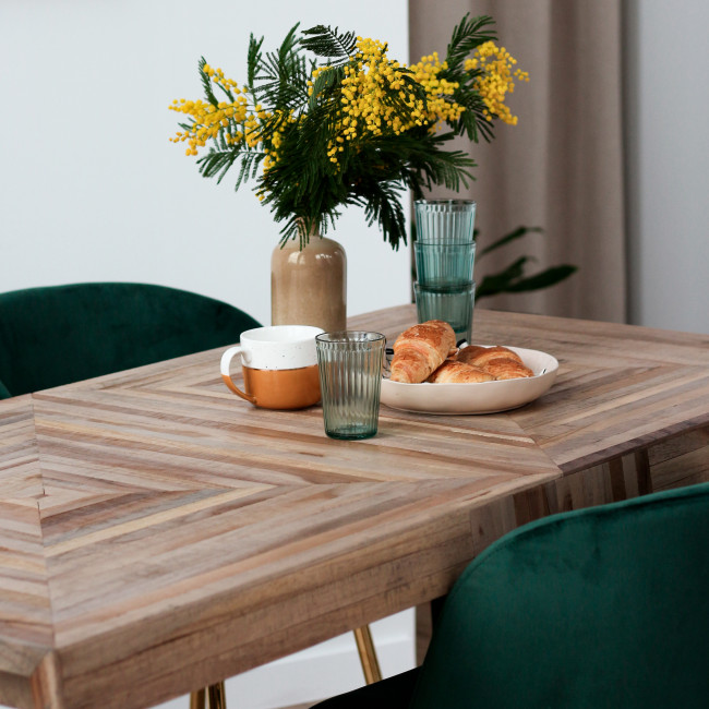 Pamenang - Table à manger en métal et teck recyclé 160x80cm