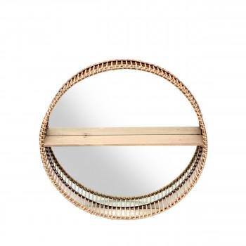 Mahe - Miroir rond avec étagère en rotin