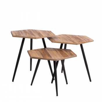 Dompu - 3 tables basses en métal et teck recyclé