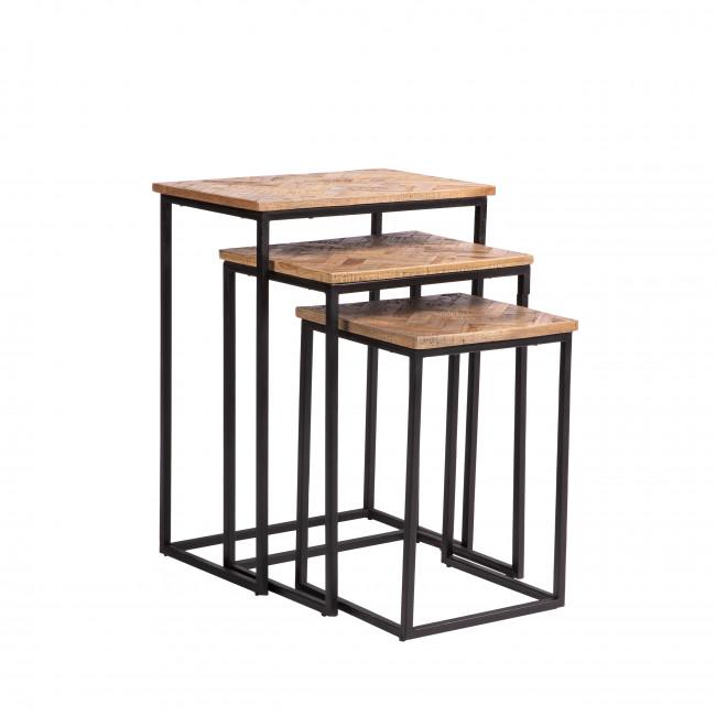 Bobokan - 3 tables basses gigognes rectangles en métal et teck recyclé