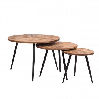 Bobokan - 3 tables basses rondes en métal et teck recyclé