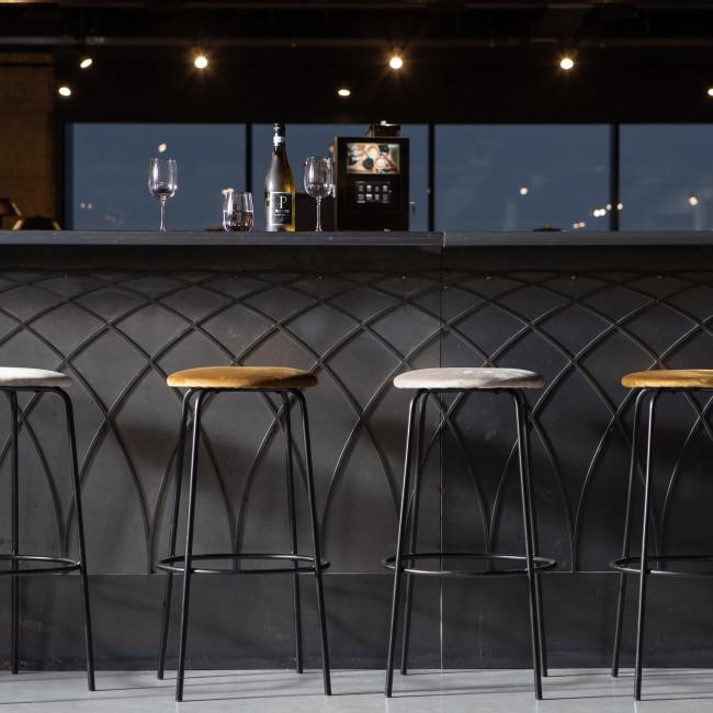 Mina - 2 tabourets de bar en métal et velours