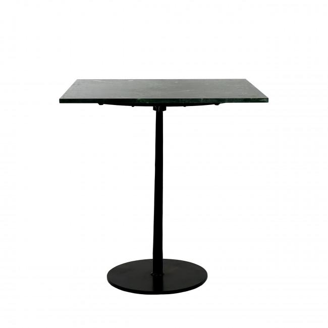 Bistro - Table de bistrot carrée en marbre et métal 70x70cm