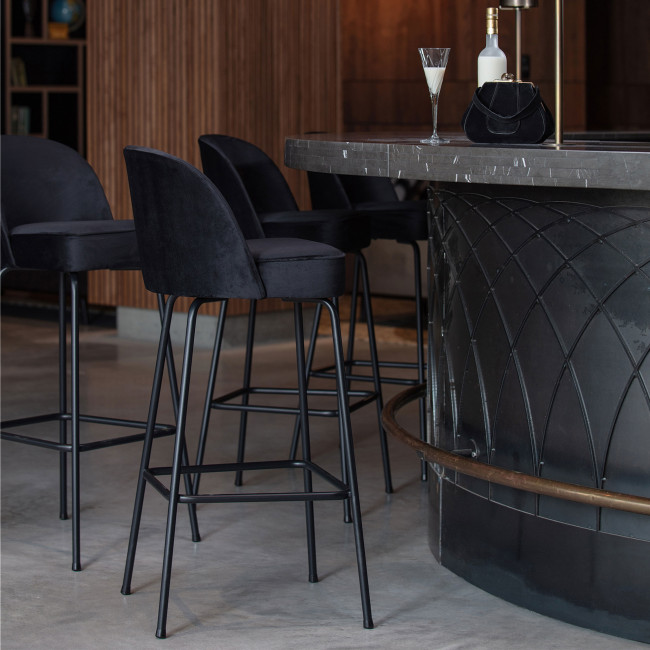 Vogue - Tabouret de bar en velours 80cm