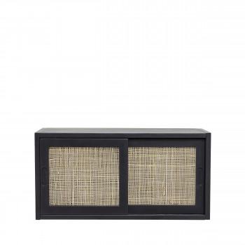 Anais - Petit meuble de rangement 2 portes en bois et cannage