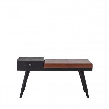 Filucca - Banc en bois et cuir avec rangement