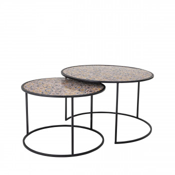 Frida - 2 tables basses rondes en mosaïque et métal
