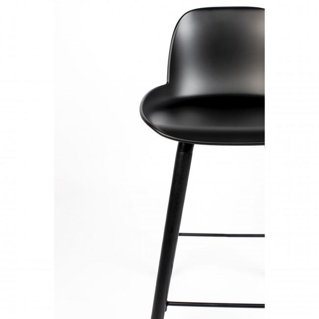 Albert Kuip - 2 tabourets de bar résine et bois pieds noirs 76cm