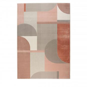 Hilton - Tapis rectangle en tissu gris et rose