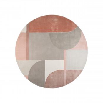 Hilton - Tapis rond en tissu gris et rose