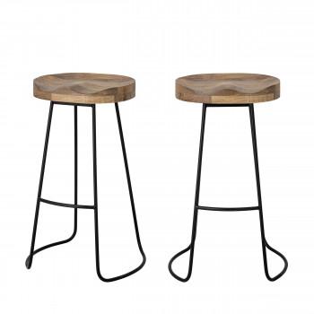 Alaya - 2 tabourets de bar en bois et métal 38,5cm