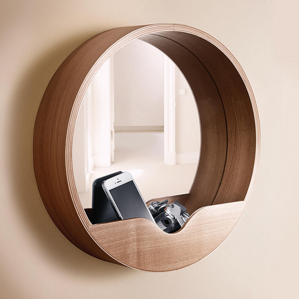 Miroir en bois round wall for Miroir design en solde