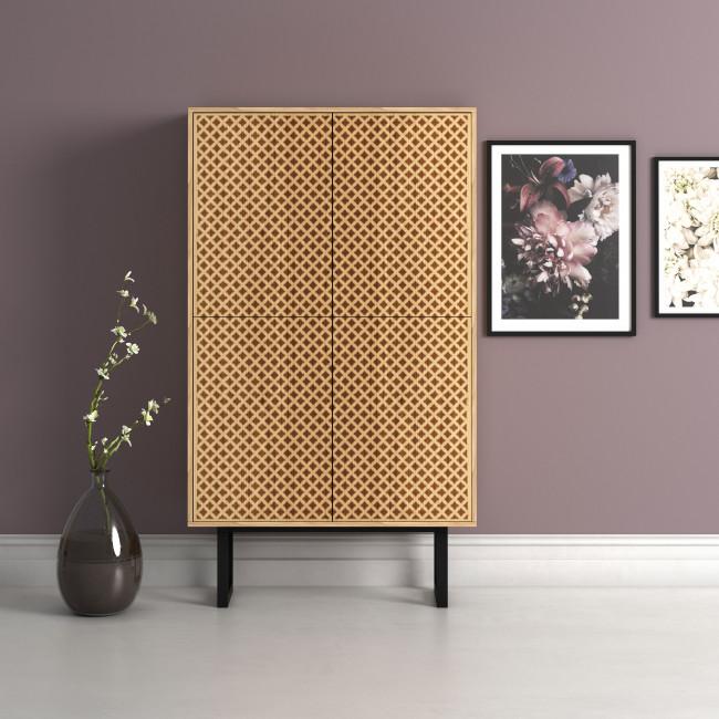 Camden - Buffet haut design en bois et métal 90x42cm