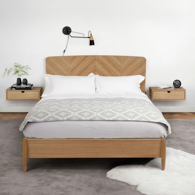 Farsta - Lit en bois motifs chevrons 180x200cm