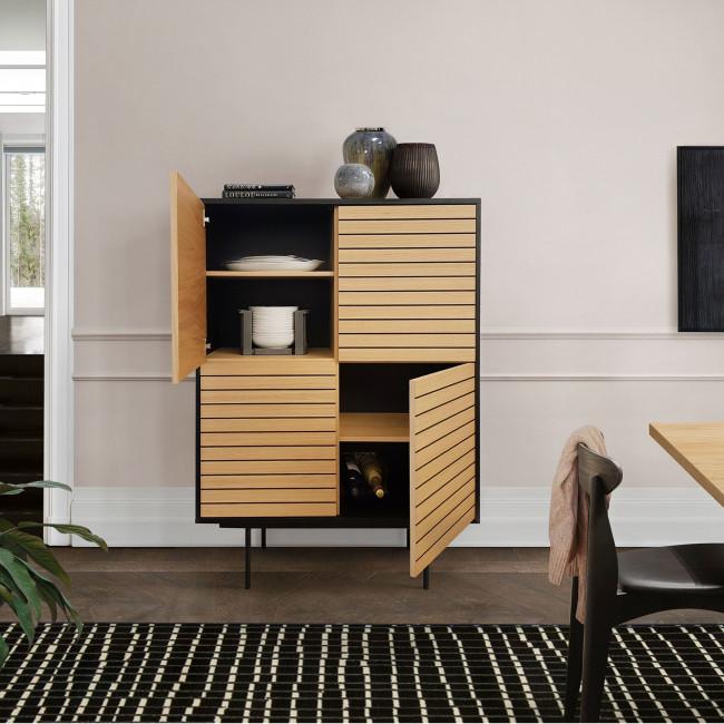Stripe - Buffet haut design en bois et métal 101x43cm