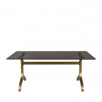 Sansa - Table à manger en métal et verre trempé 180x90cm