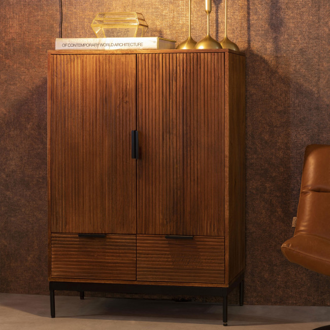 Saroo - Buffet 2 portes 2 tiroirs en bois et métal