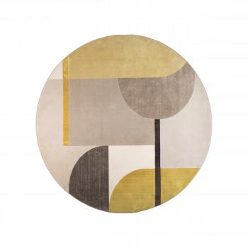Hilton - Tapis rond en tissu gris et jaune