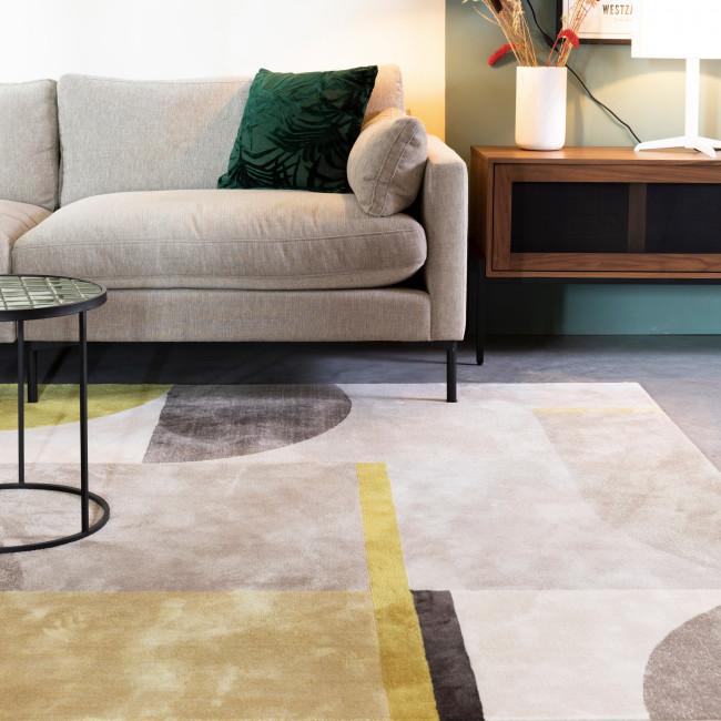 Hilton - Tapis rectangle en tissu gris et jaune