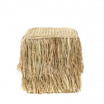 Raffia Shaggy - Pouf en fibre naturelle 35x35cm
