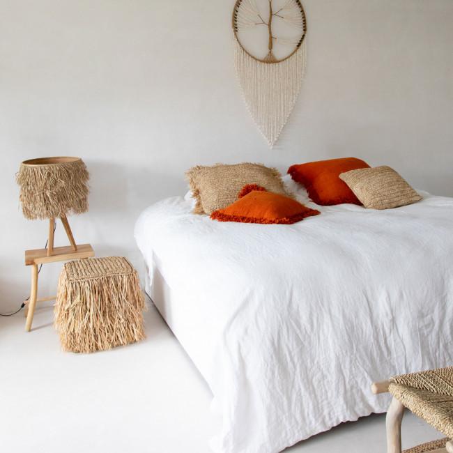 Raffia - Lampe à poser en bois et fibre naturelle