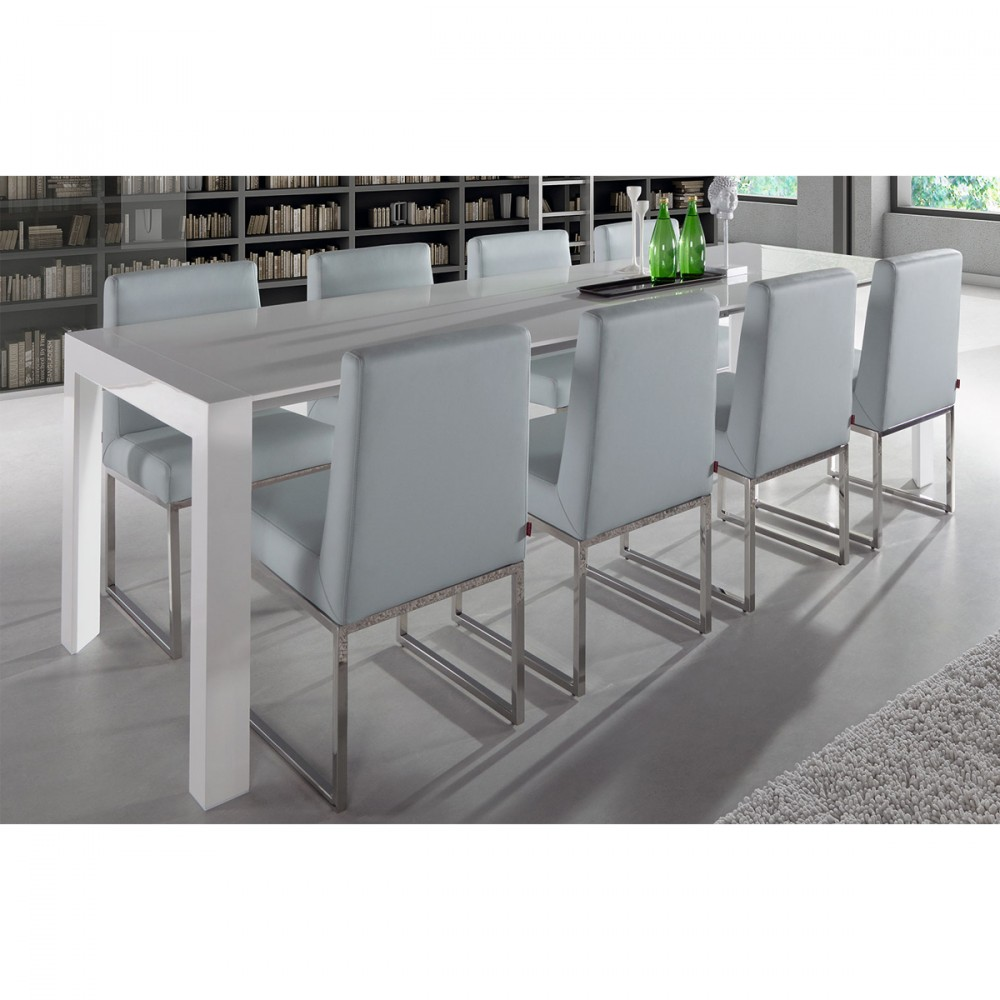 Beautiful table laque 8 places ideas awesome interior for Table a manger extensible blanc laque