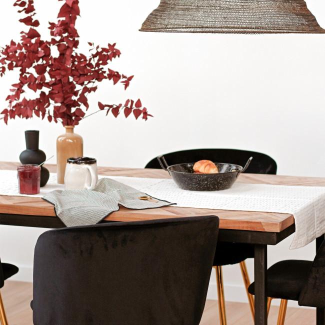 Bobokan - Table en métal et teck recyclé 180x90cm