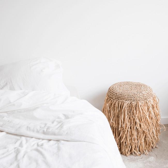 Raffia Shaggy - Pouf en fibre naturelle ø37cm