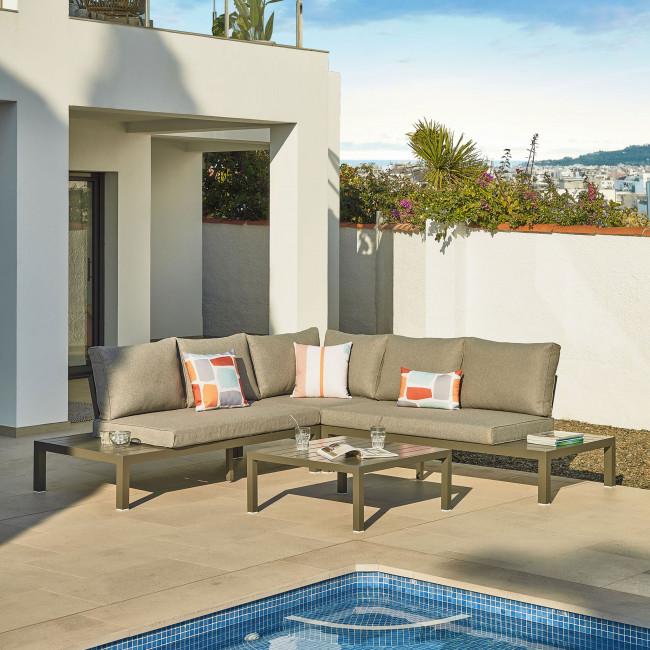 Duka - Salon de jardin 1 canapé d'angle modulable et 1 table basse