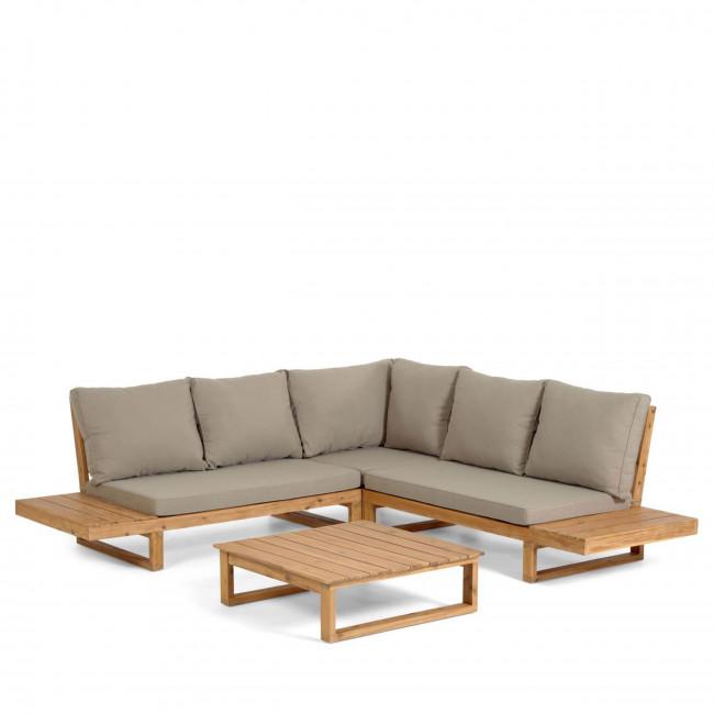 Flaviina - Salon de jardin 1 canapé d'angle et 1 table basse