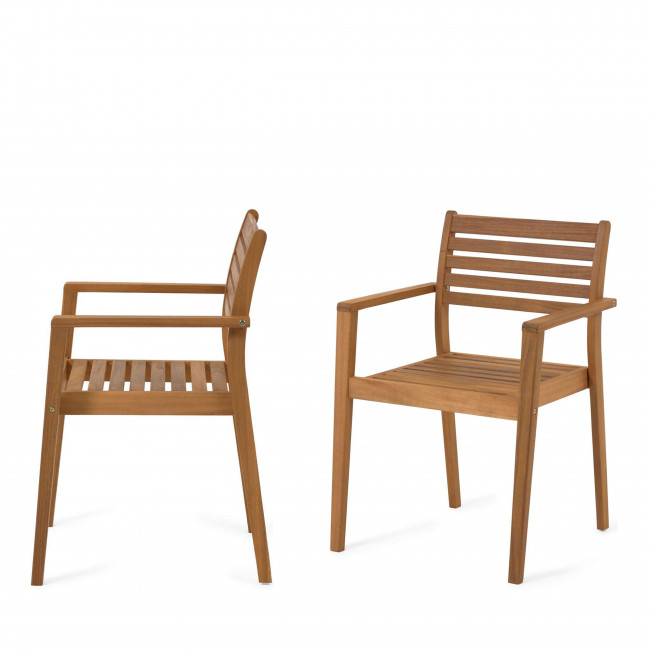 Hanzel - 2 chaises de jardin en bois