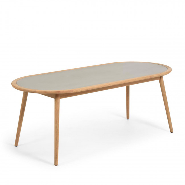 Nina - Table à manger arrondie et en bois 200x90cm