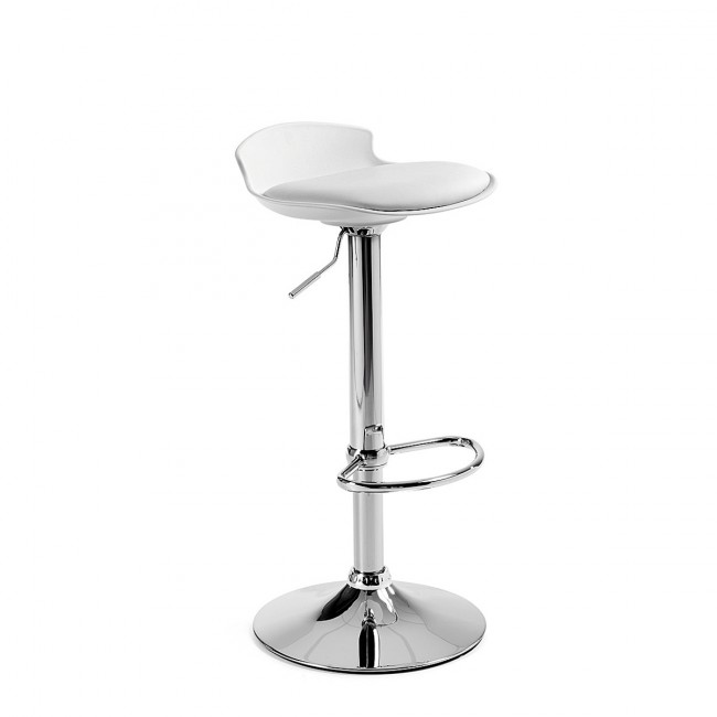 Lot de 2 tabourets de bar design Uma One blanc de profil