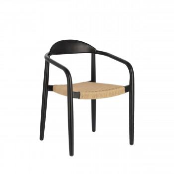 Nina - 4 chaises de jardin eucalyptus et corde pieds noirs