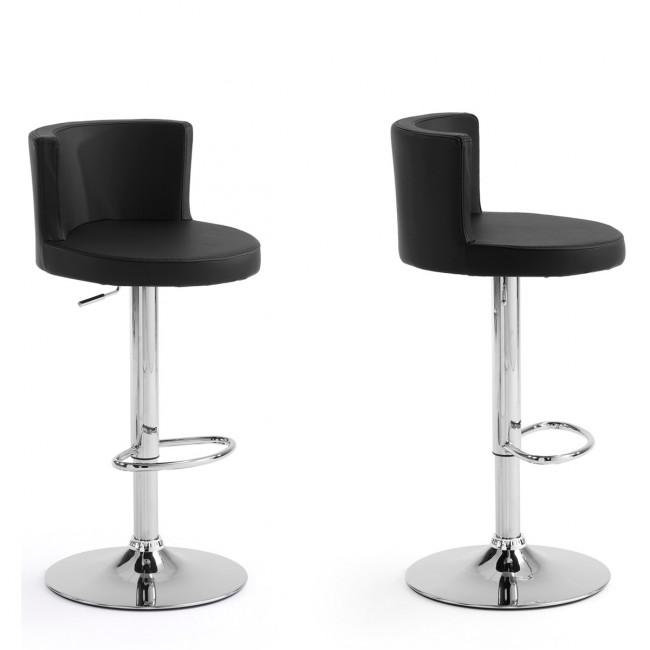Lot de 2 tabourets de bar design ˆ dossier Antennae cuir noir par Drawer noir