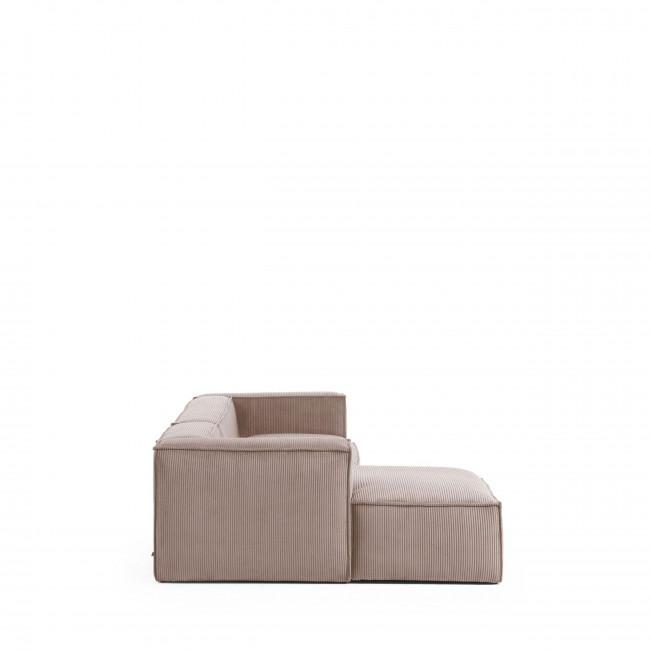 Blok - Canapé d'angle 3 places en velours avec méridienne gauche