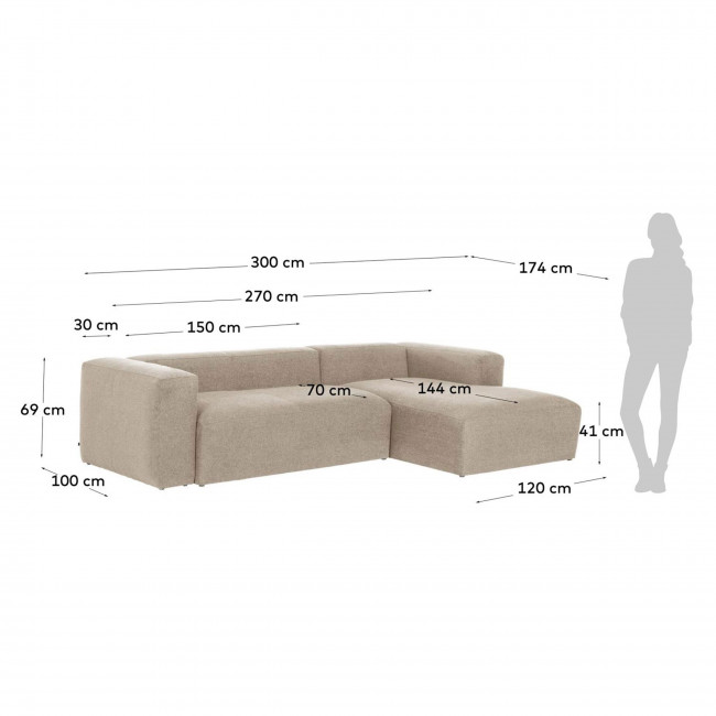Blok - Canapé d'angle 3 places design avec méridienne droite