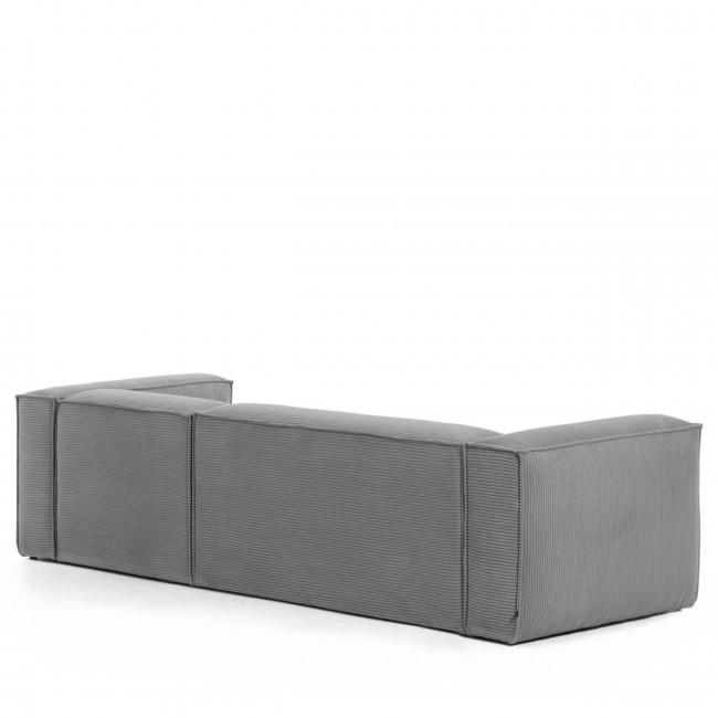 Blok - Canapé d'angle 3 places en velours avec méridienne droite