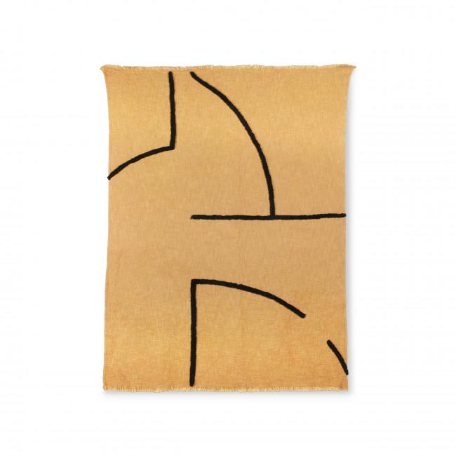 Selva - Plaid tissé avec des lignes touffetées noires 130x170 cm
