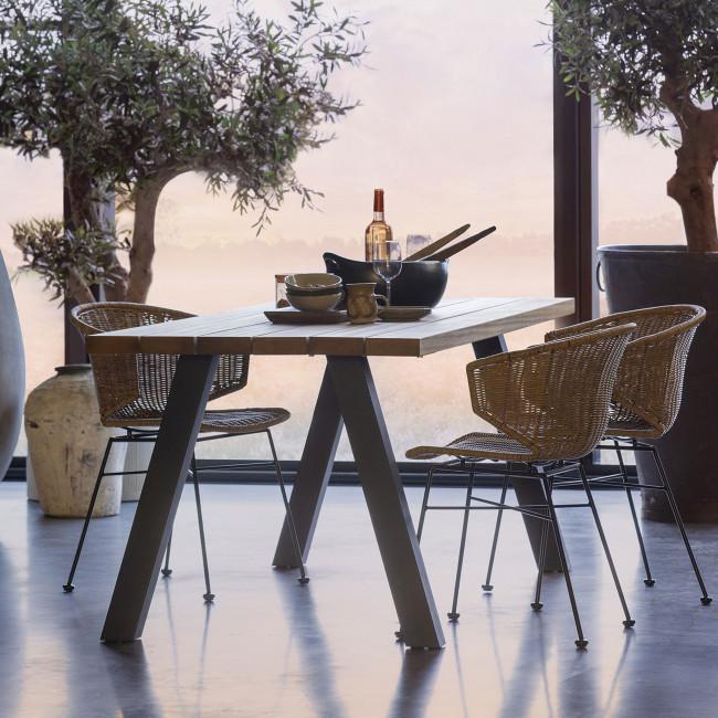 Tablo - Table à manger en bois piétement en A 210x81cm