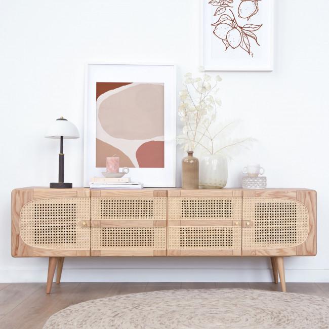 Ostnor - Meuble TV 4 portes en bois et cannage