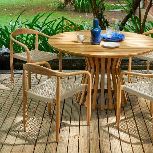 Salao - Chaise indoor/outdoor en bois et corde