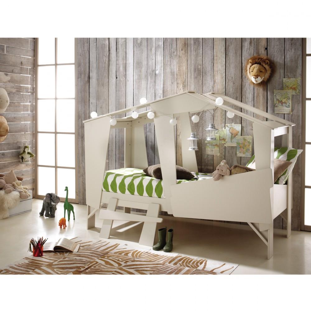 Cadre de lit cabane enfant en bois avec sommier drawer for Chambre a theme