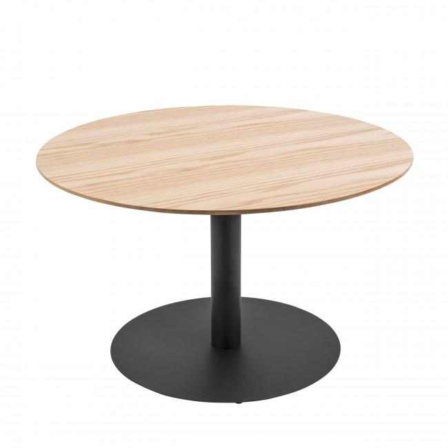 Dot - Table basse ronde en métal et bois